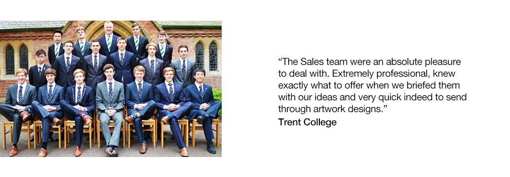 Trent College wearing college ties with testimonial caption