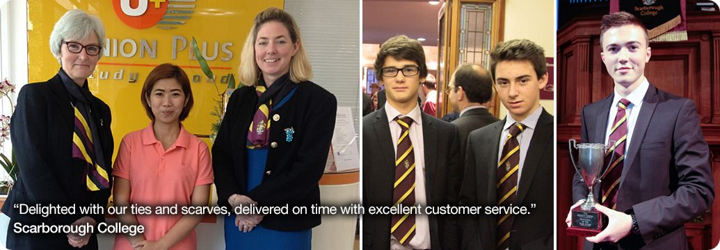 Scarborough College wearing their college ties and scarves with testimonial caption below