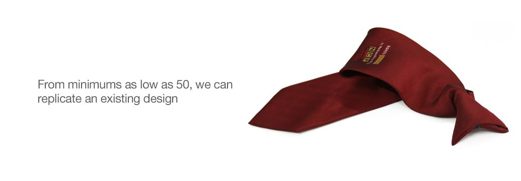 clip-on tie image with caption text to the left