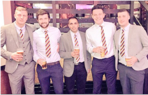 Cricket players in their club ties